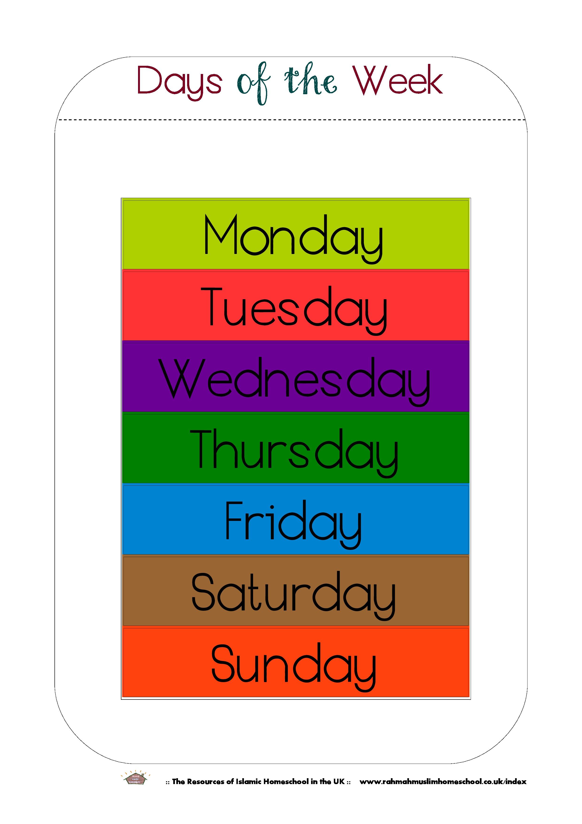 Free Printable Days Of The Week Workbook And Poster   The Resources - Free Printable Days Of The Week