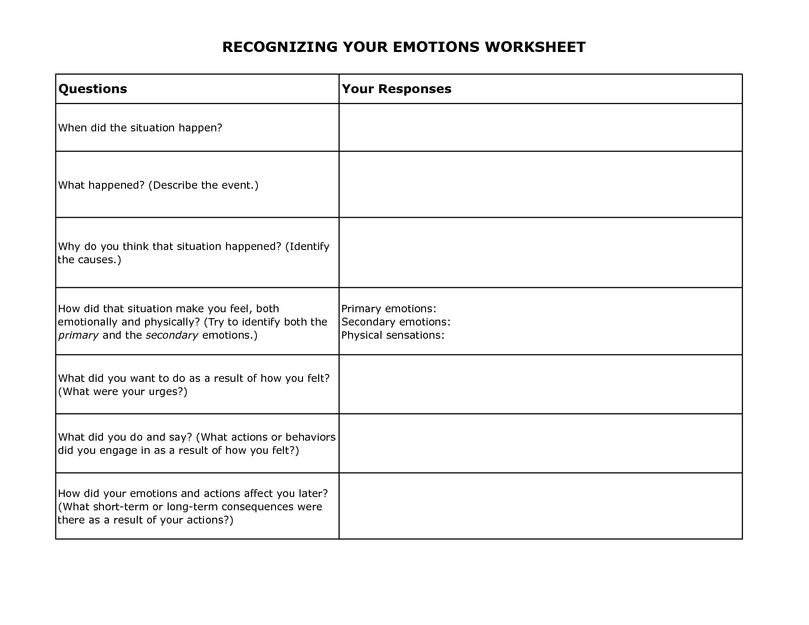 Free Printable Dbt Worksheets | Recognizing Your Emotions Worksheet - Free Printable Worksheets On Depression
