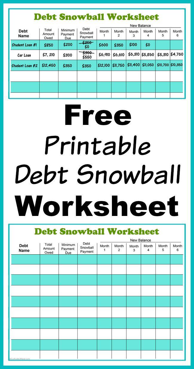 Free Printable Debt Snowball Worksheet- Pay Down Your Debt!   Living - Free Printable Debt Payoff Worksheet