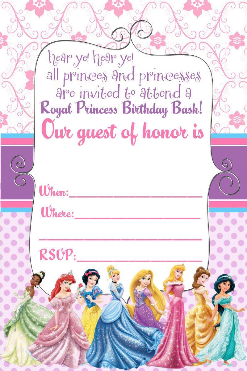 Free Printable Disney Princess Ticket Invitation | Printable - Free Printable Birthday Invitation Cards