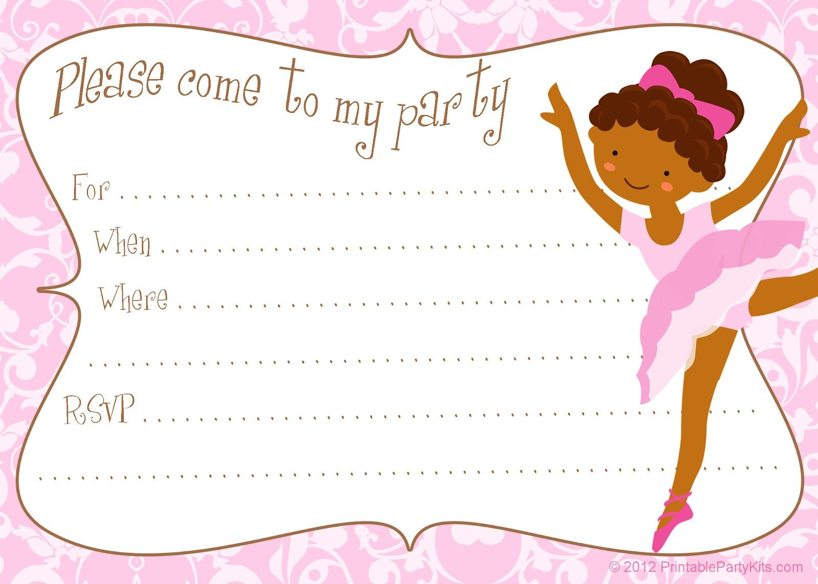 Free Printable Diy Ballerina Invitation Template | Party Printables - Free Printable Ballerina Birthday Invitations