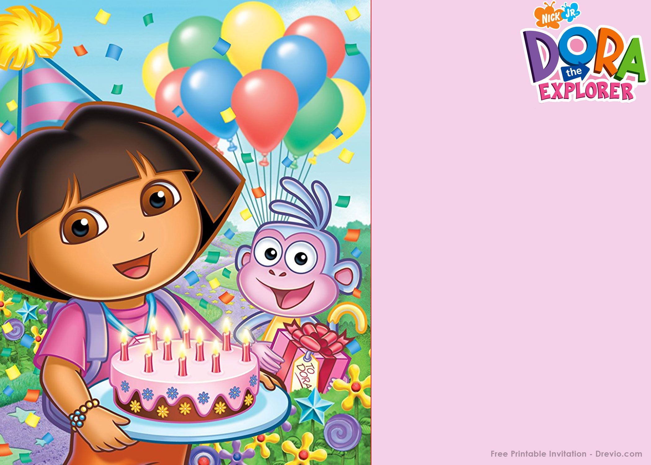 Free Printable Dora The Explorer Party Invitation Template - Dora Birthday Cards Free Printable