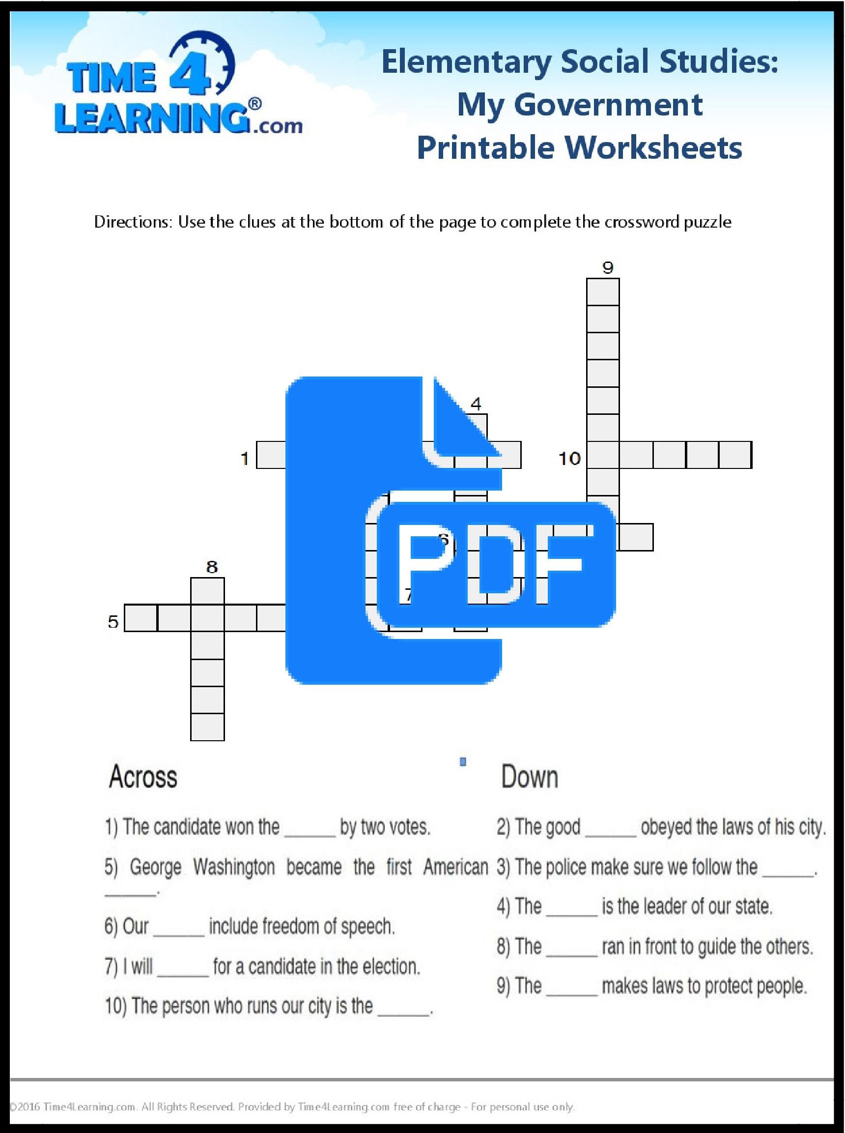 Free Printable: Elementary Social Studies Worksheet   Time4Learning - Free Printable Social Studies Worksheets