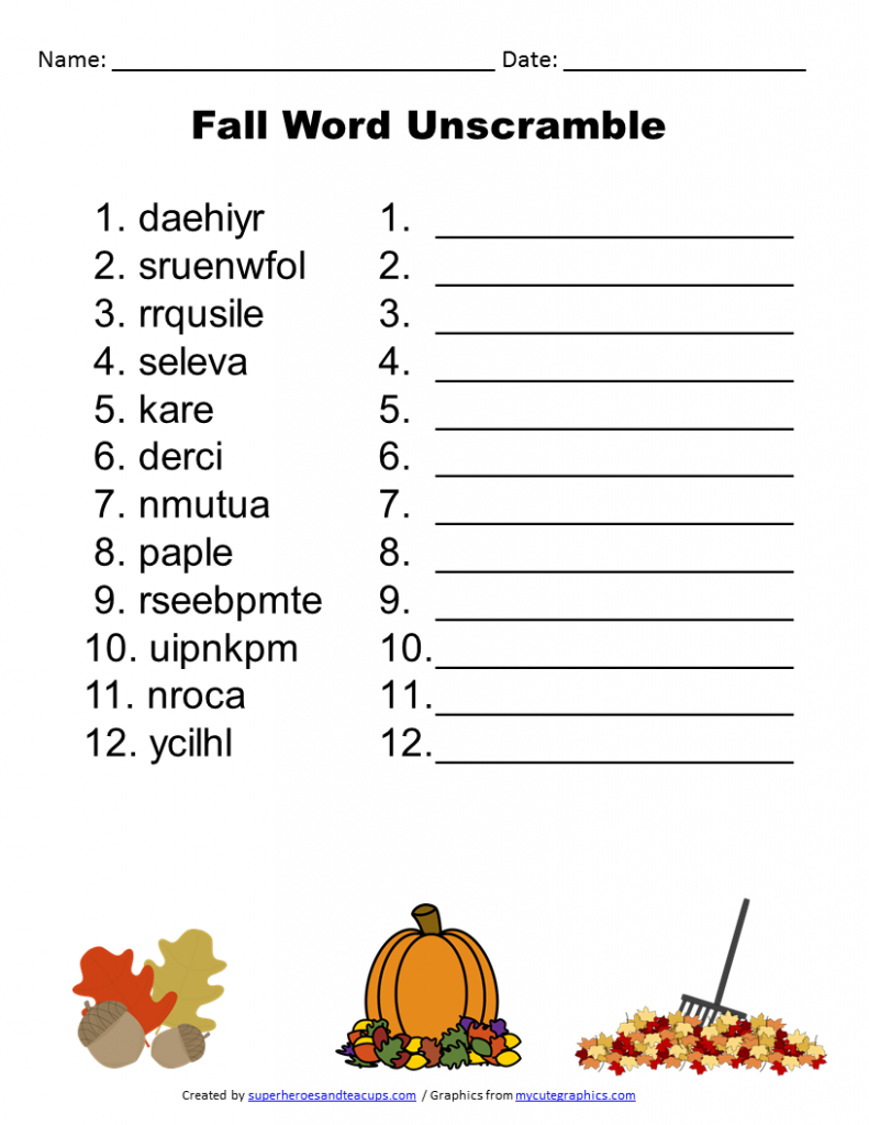 Free Printable - Fall Word Unscramble | Games For Senior Adults - Free Printable Word Jumble Puzzles For Adults