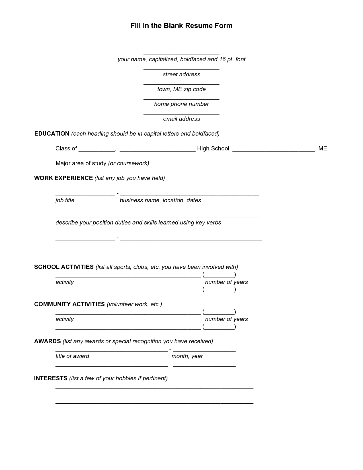 Free Printable Fill In The Blank Resume Templates Unique Template - Free Printable Fill In The Blank Resume Templates