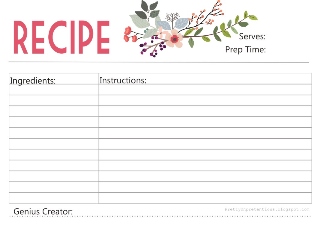 Free Printable : Floral Recipe Card - Free Printable Recipe Cards