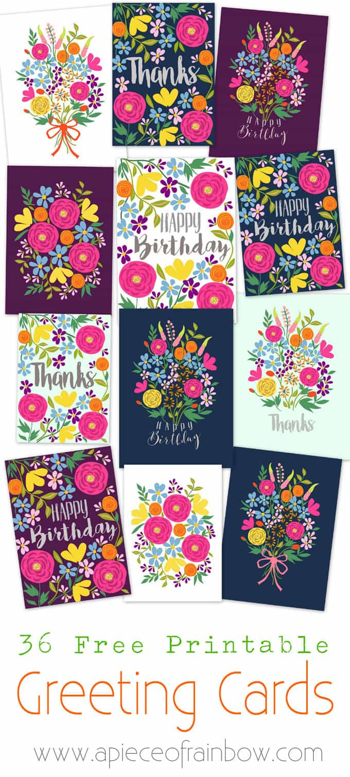 Free Printable Flower Greeting Cards - A Piece Of Rainbow - Free Printable Greeting Cards