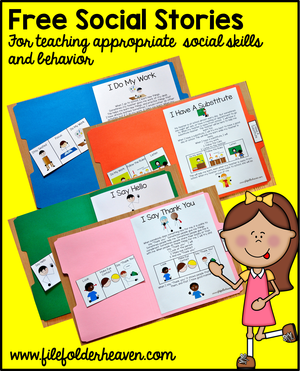 """Free, Printable """"folder Stories."""" Simple One Page Social Stories - Free Printable Social Stories Making Friends"""
