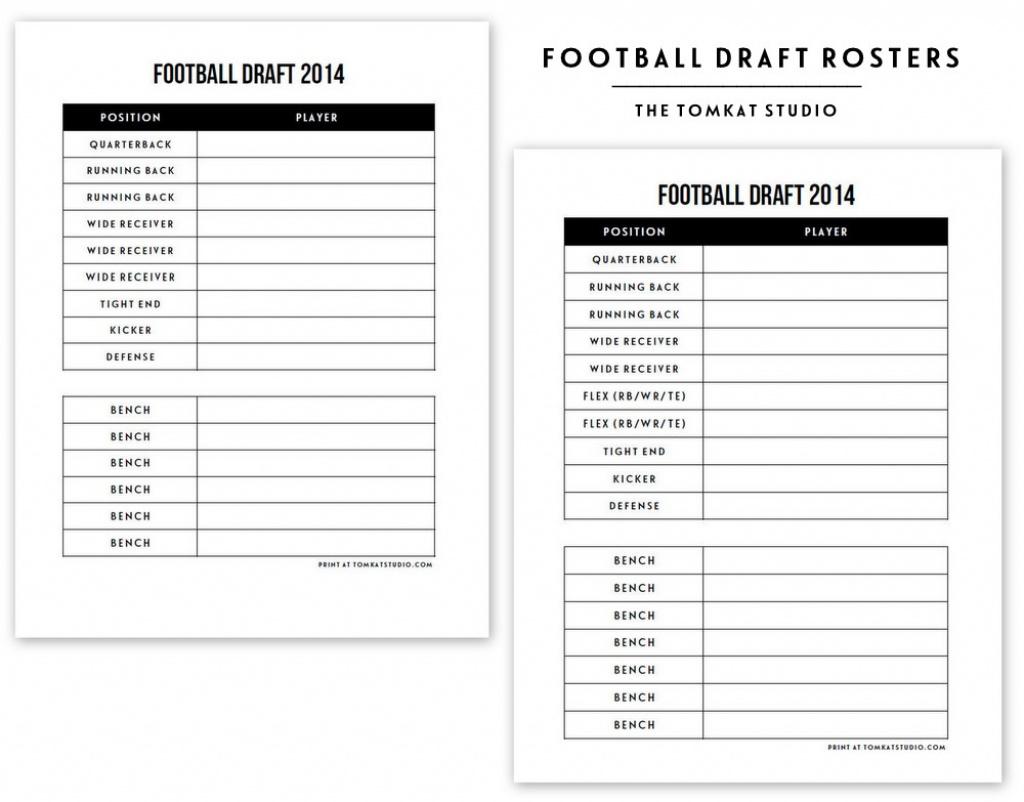 Free Printable Football Roster… | The Tomkat Studio Blog Inside Free - Fantasy Football Draft Sheets Printable Free