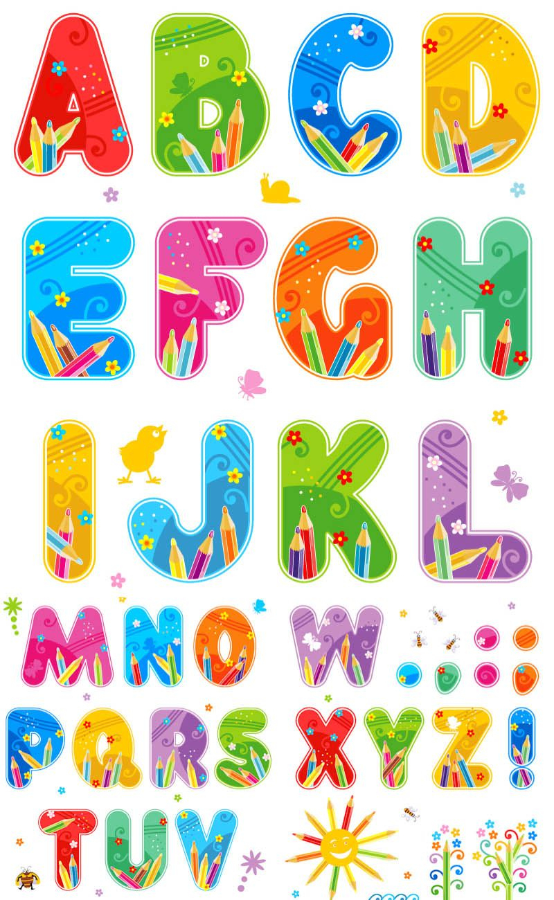 Free Printable Funny Alphabet Letters | Summer Alphabet Vector Set - Free Printable Photo Letter Art