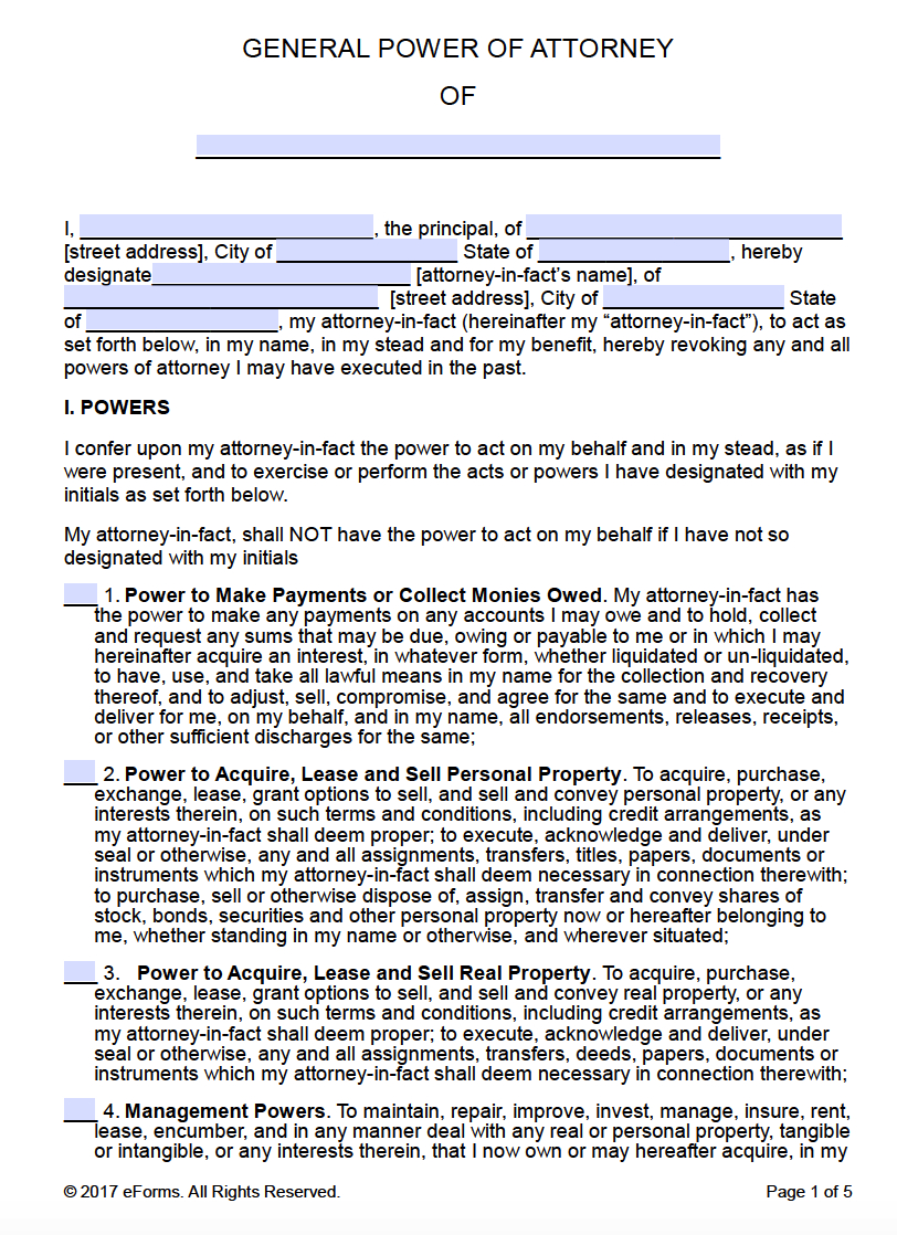 Free Printable General Power Of Attorney Forms - Free Printable Power Of Attorney Form California