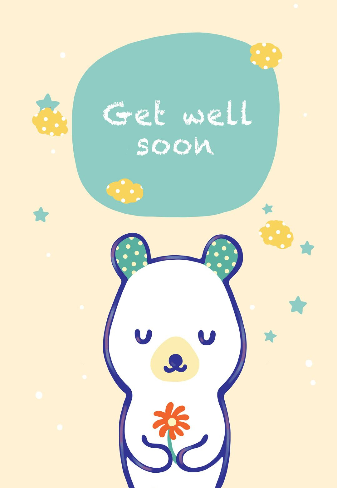 Free Printable Get Well Teddy Bear Greeting Card | Littlestar Cindy - Free Printable Get Well Cards
