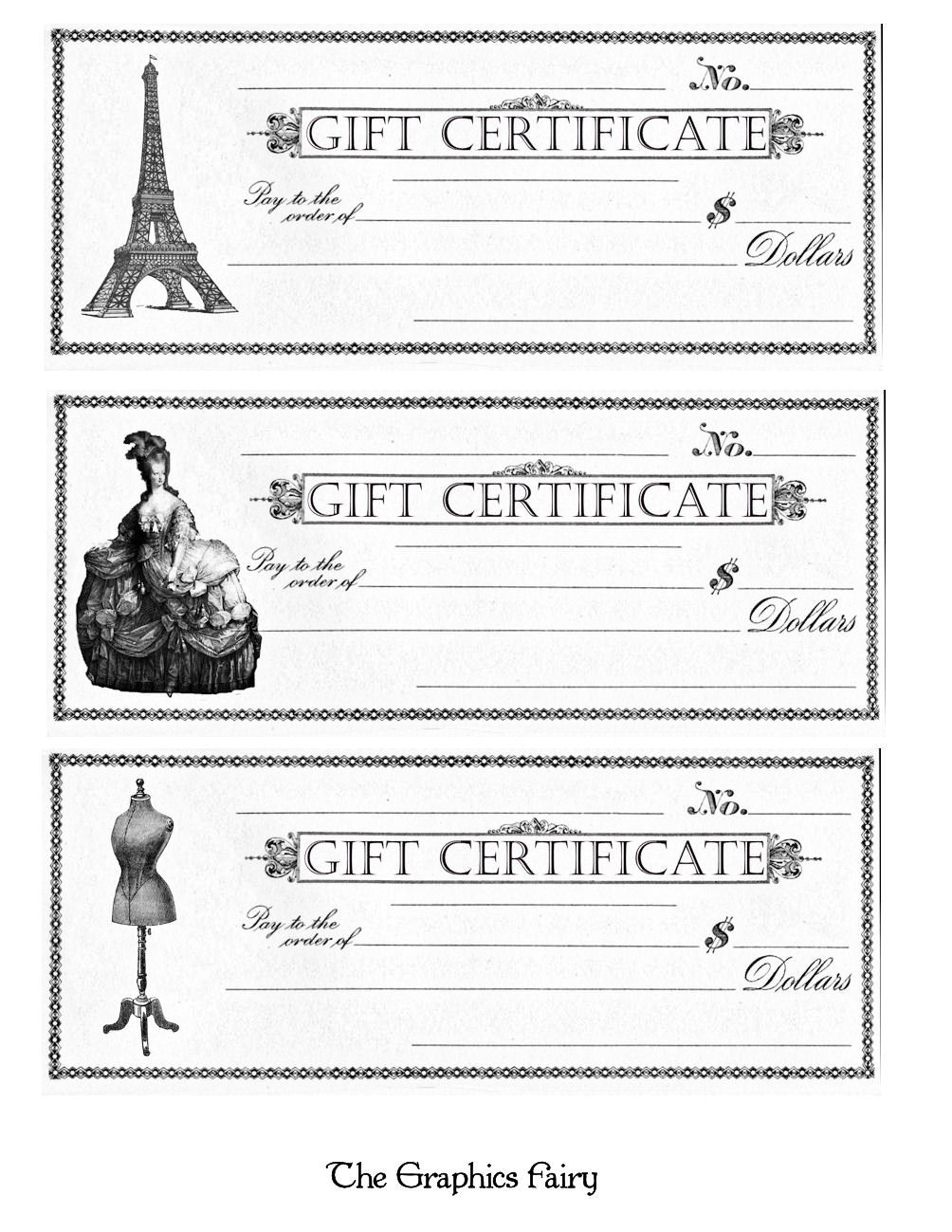 Free Printable - Gift Certificates - The Graphics Fairy - Free Printable Gift Certificates