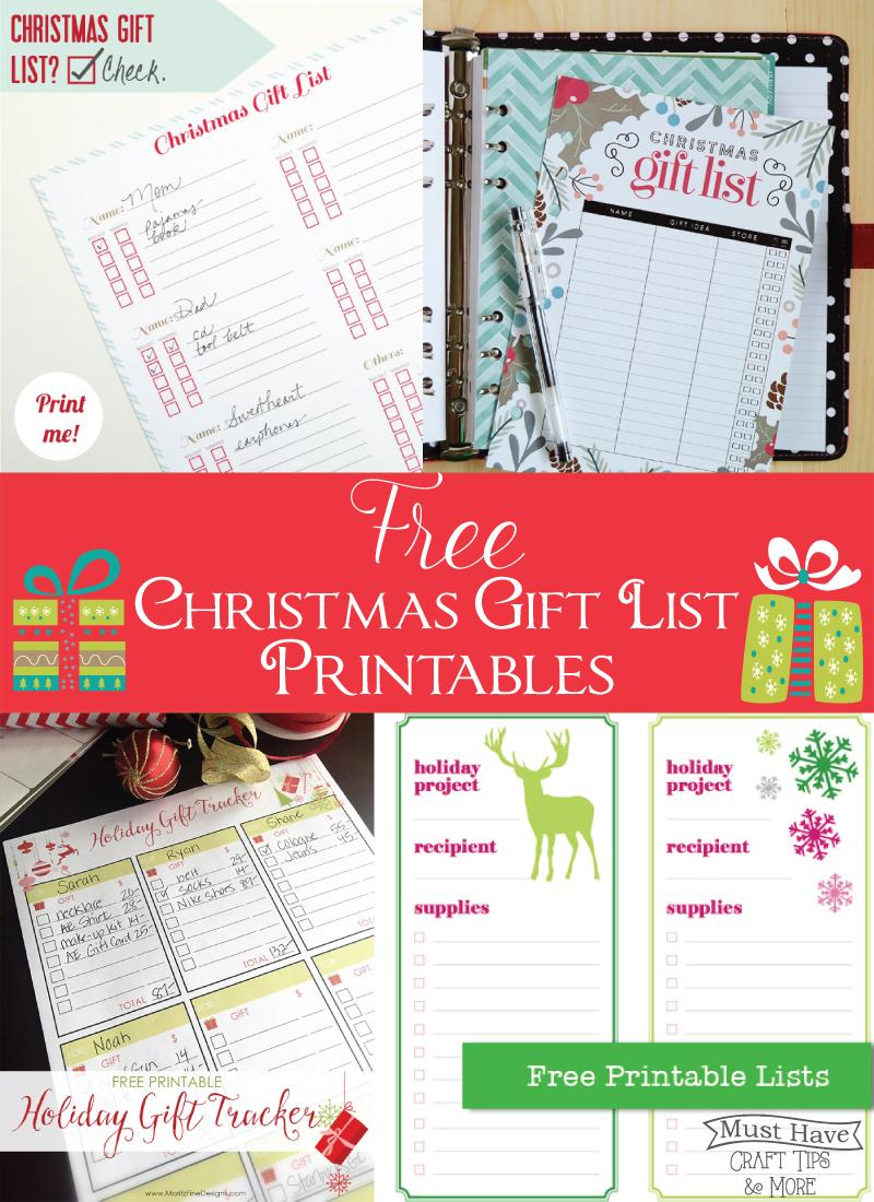 Free Printable Gift List Printables - The Scrap Shoppe - Free Printable Gift List