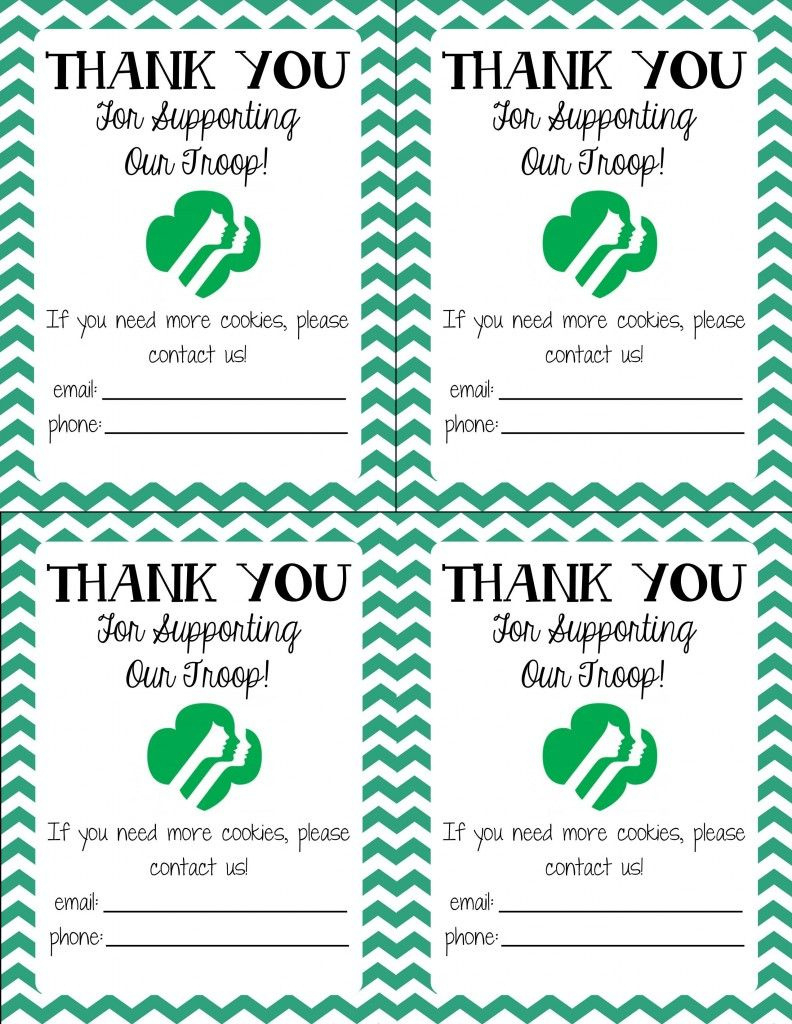 Free Printable! Girl Scout Cookie Thank You Cards | Girl Scouts In - Free Printable Eagle Scout Thank You Cards