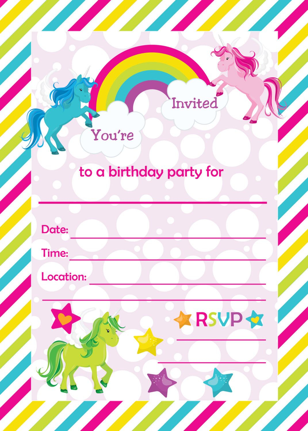 Free Printable Golden Unicorn Birthday Invitation | Serenity's - Happy Birthday Invitations Free Printable