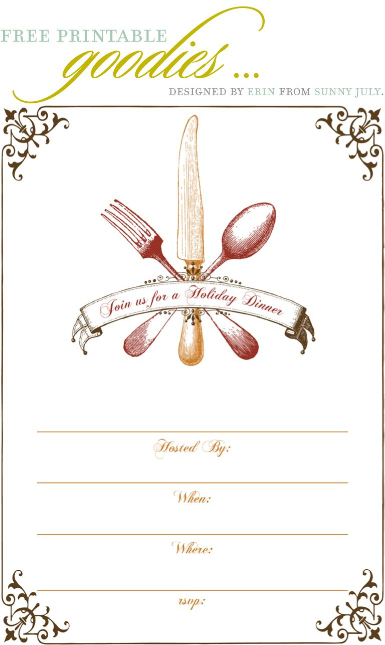 Free Printable Goodies - Sunny July | Holiday Thanksgiving - Free Printable Thanksgiving Dinner Invitation Templates