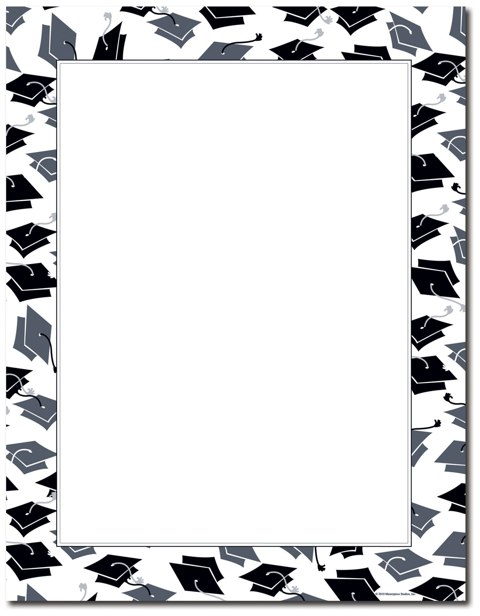 Free Printable Graduation Paper | Mortar Hat Border Letterhead - Free Printable Graduation Paper