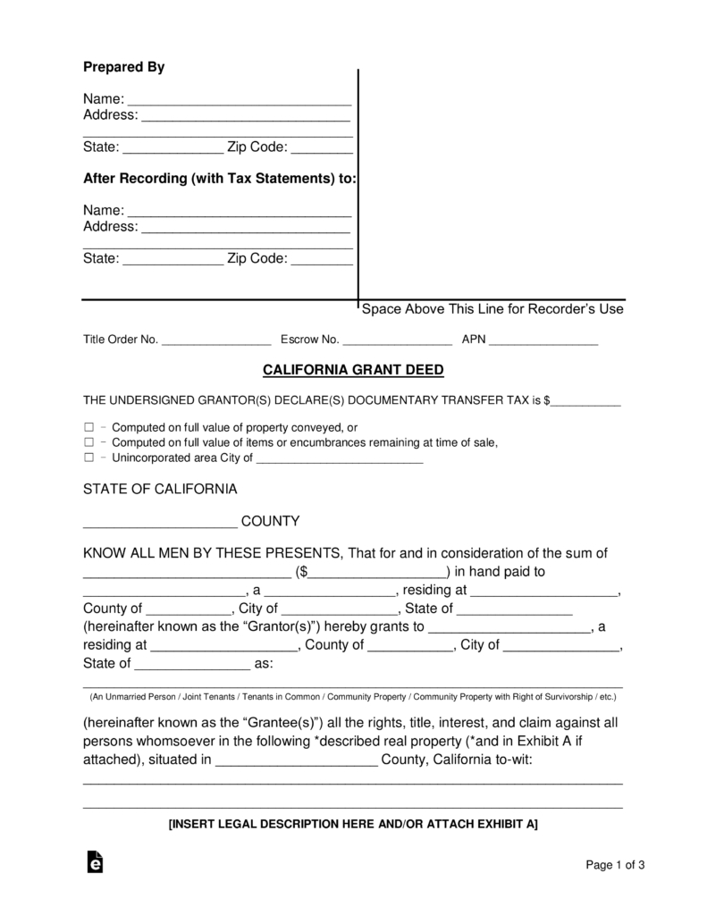 Free Printable Grant Deed Form - 16.18.internist-Dr-Horn.de • - Free Printable Legal Forms California