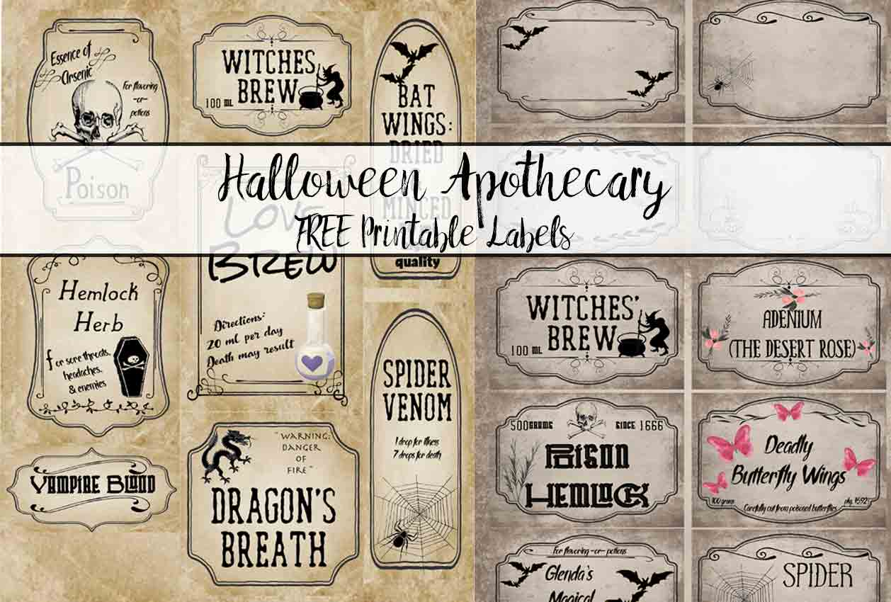 Free Printable Halloween Apothecary Labels: 16 Designs Plus Blanks! - Free Printable Halloween Labels