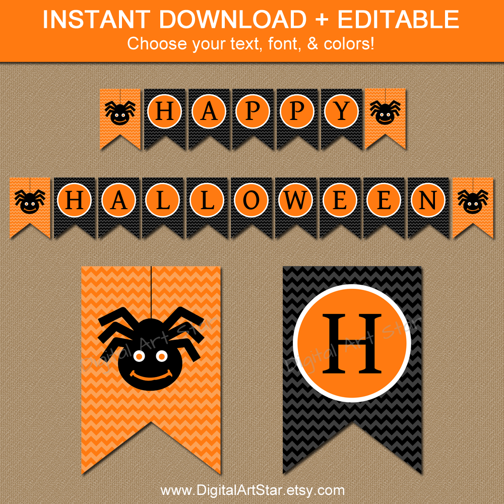 Free Printable Halloween Happy Birthday Banner - 4.5.kaartenstemp.nl • - Free Printable Halloween Banner