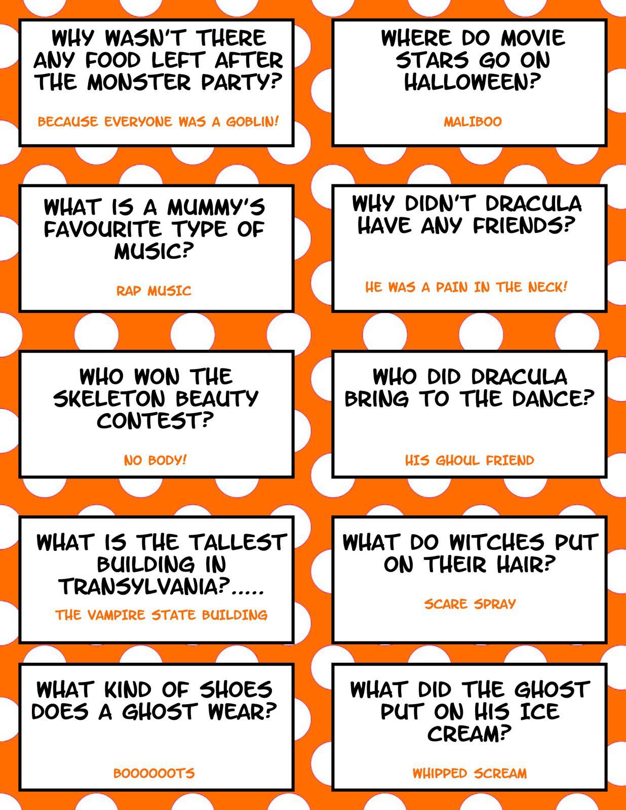 Free Printable Halloween Jokes For Kids - Halloween Lunch Box Jokes - Free Printable Jokes For Adults
