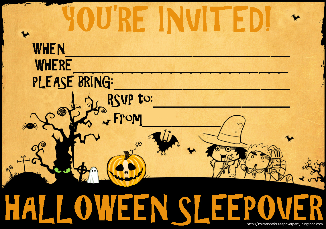 Free Printable Halloween Sleepover Invitations | Halloween Arts - Free Printable Halloween Invitations For Adults