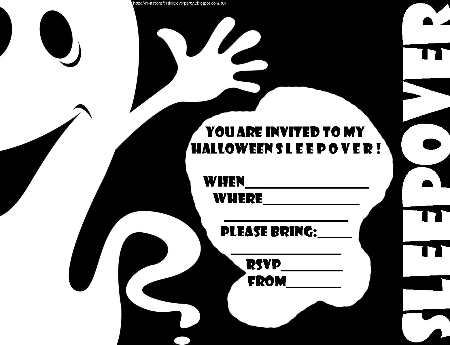 Free Printable Halloween Sleepover Invitations | Halloween Arts - Halloween Invitations Free Printable Black And White