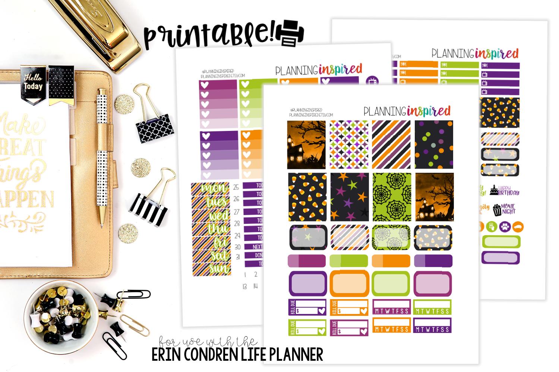 Free Printable Halloween Weekly Sticker Kit - Planning Inspired - Free Printable Happy Planner Stickers