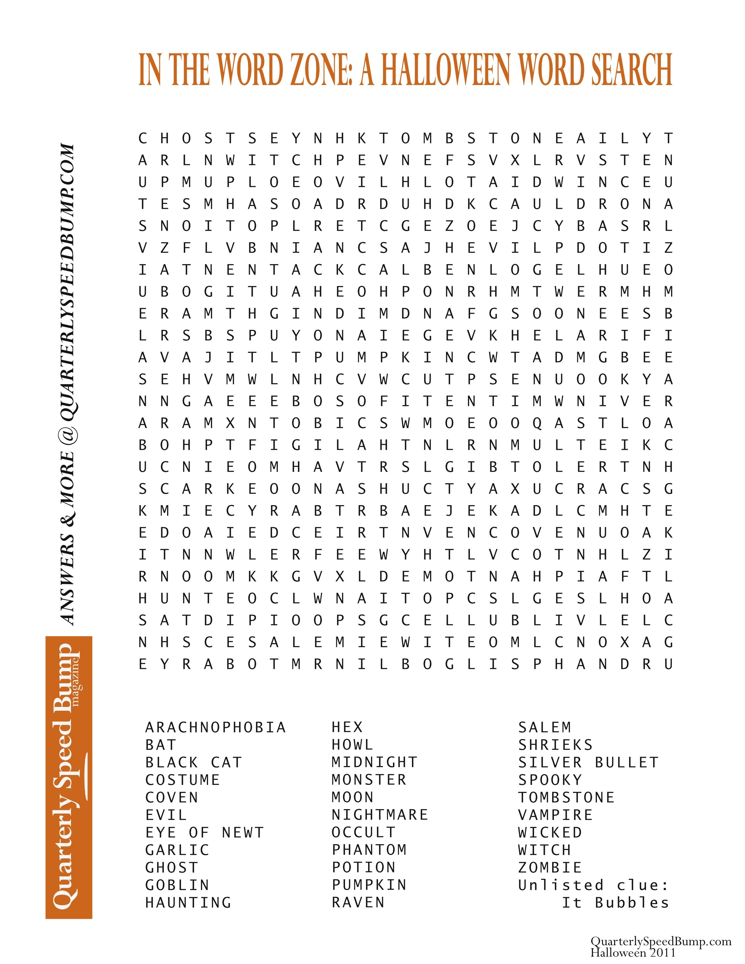 Free Printable Halloween Word Search Puzzles | Halloween Puzzle For - Free Word Search With Hidden Message Printable