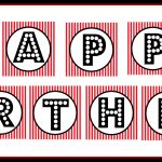 "Free Printable ""happy Birthday"" Banner / Red, Black & White   Free Happy Birthday Printable Letters"