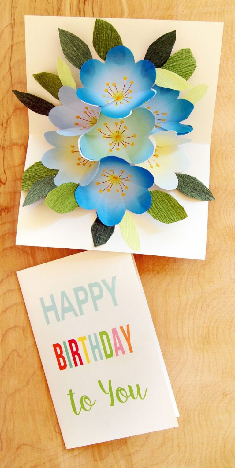 Free Printable Happy Birthday Card With Pop Up Bouquet | Flower - Free Printable Pop Up Birthday Card Templates