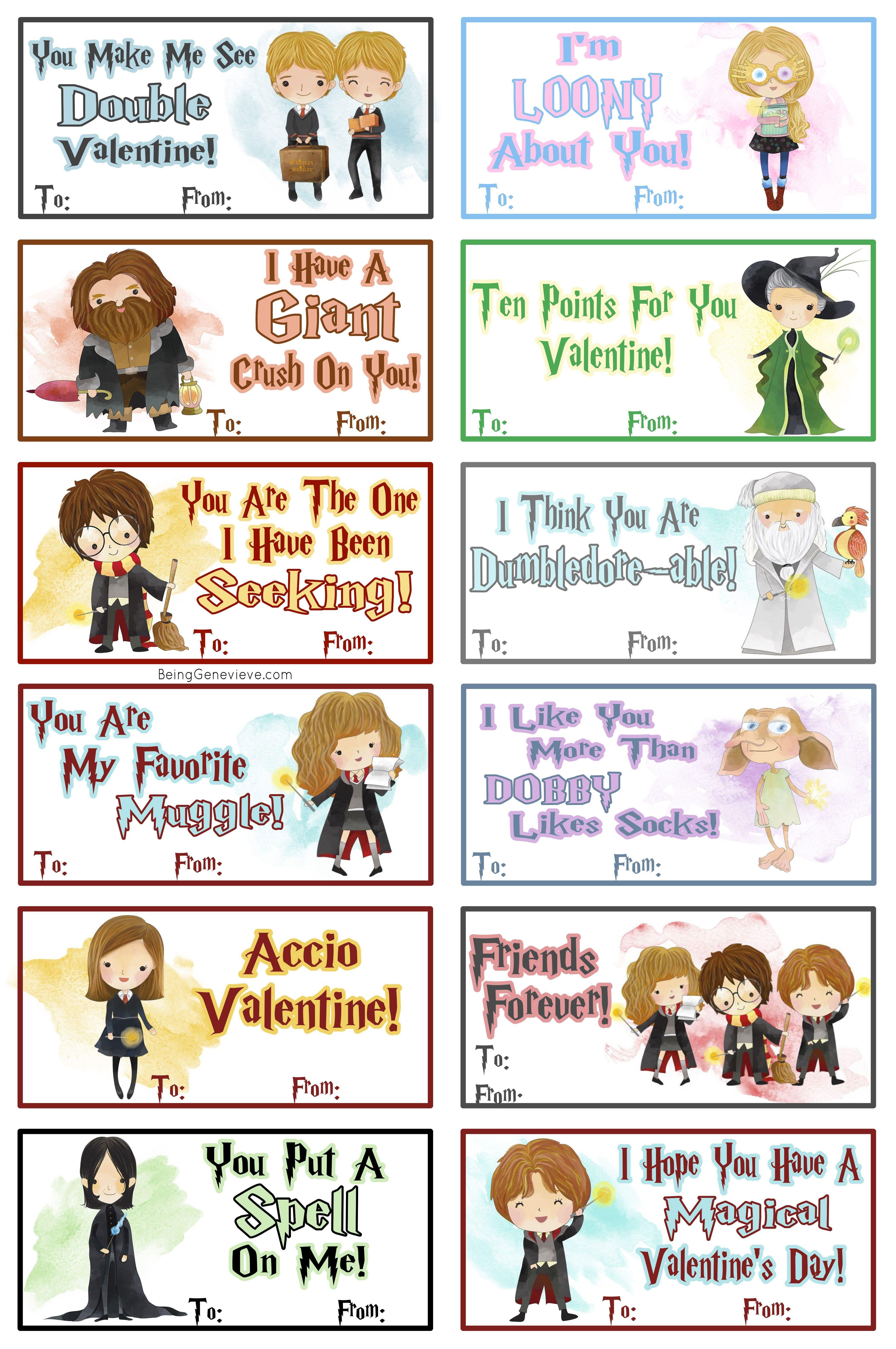 Free Printable Harry Potter Valentines | Beinggenevieve - Free Printable Harry Potter Pictures