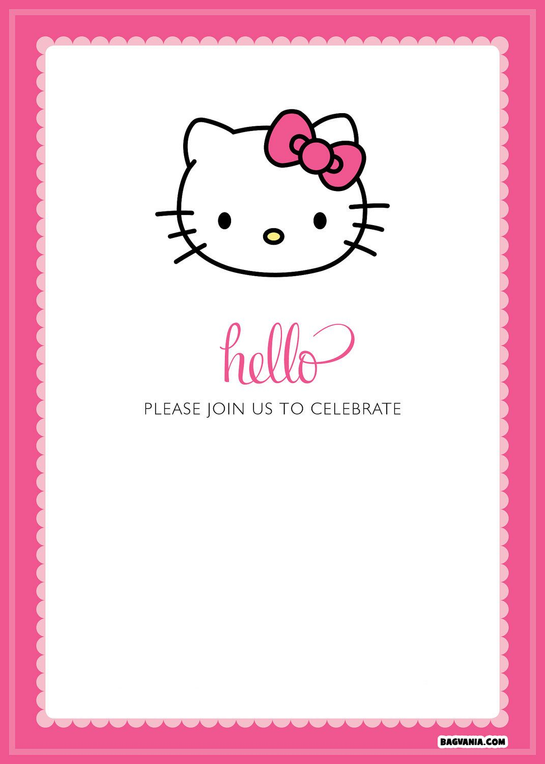 Free Printable Hello Kitty Birthday Invitations – Bagvania Free - Hello Kitty Birthday Card Printable Free