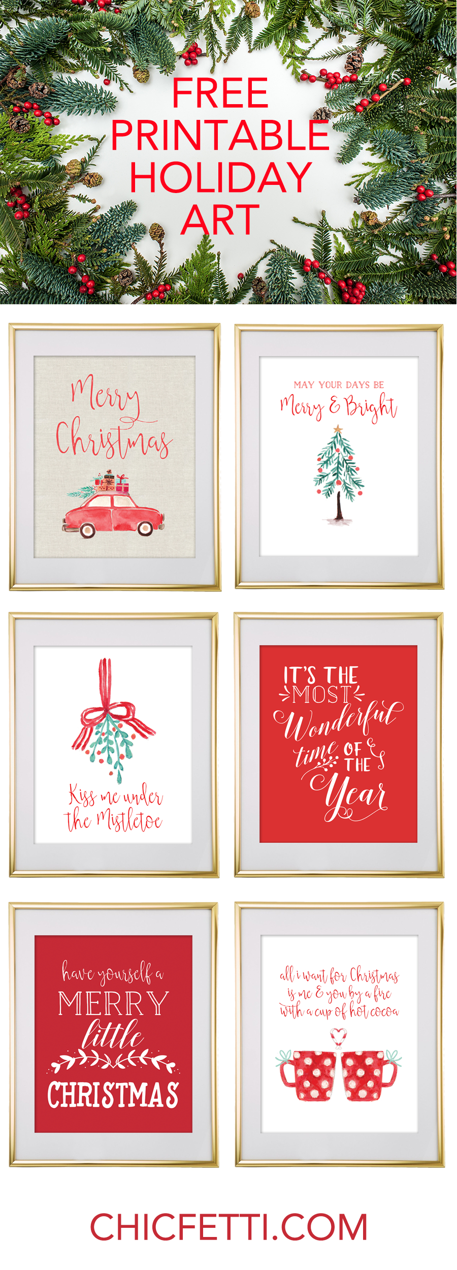 Free Printable Holiday Christmas Wall Art From @chicfetti   Free - Free Printable Christmas Art