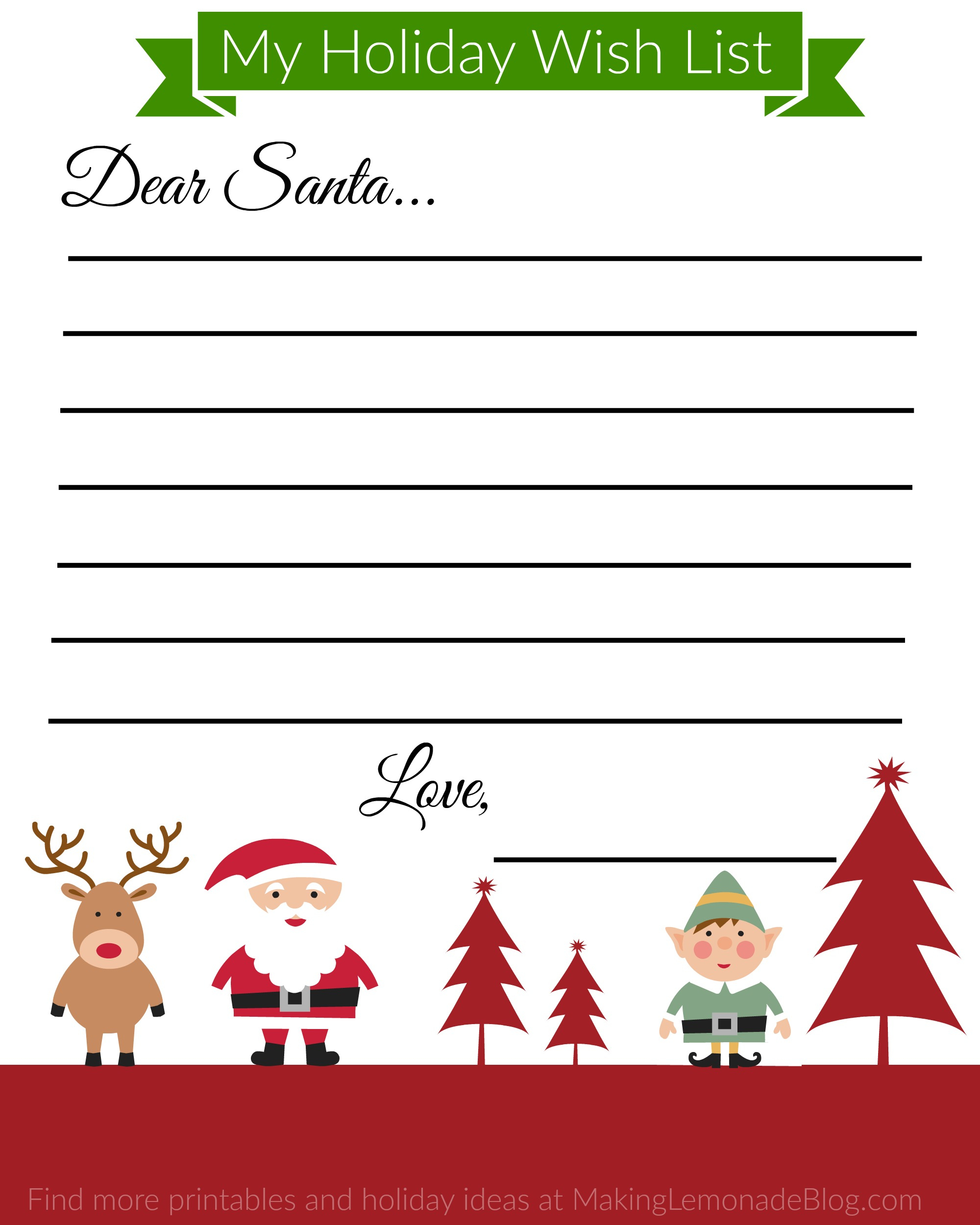 Free Printable Holiday Wish List For Kids - Free Printable Christmas Wish List