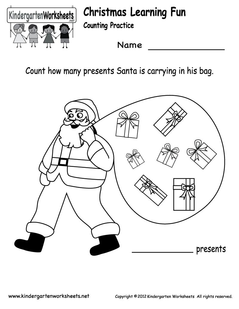 Free Printable Holiday Worksheets | Kindergarten Santa Counting - Free Printable Christmas Worksheets For Kids