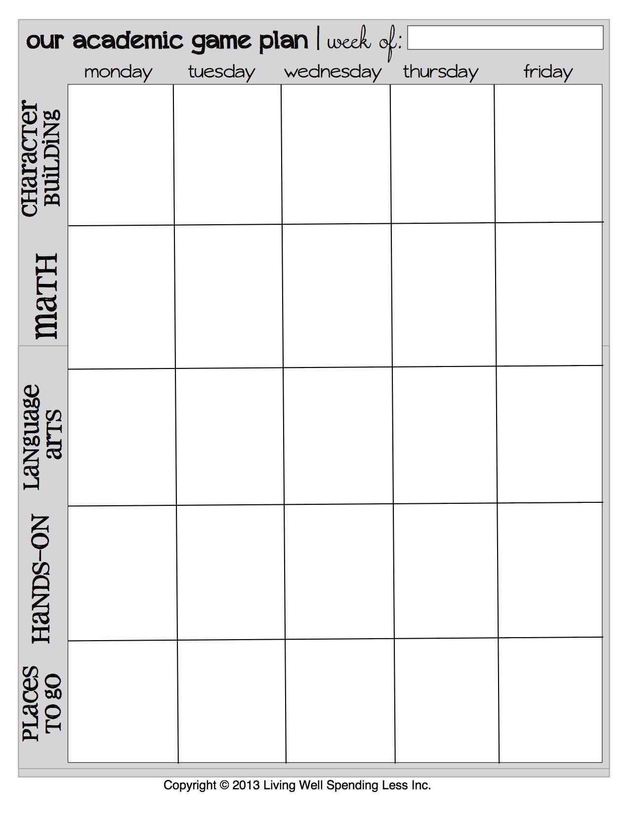 Free Printable Homeschool Weekly Academic Game Plan | Homeschool - Free Printable Academic Planner