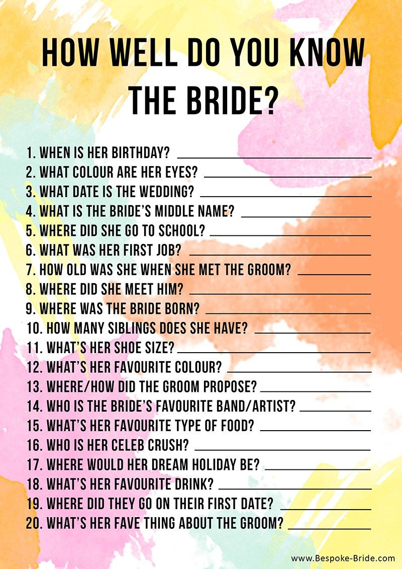 Free Printable 'how Well Do You Know The Bride?' Hen Party & Bridal - How Well Do You Know The Bride Game Free Printable