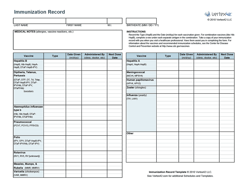 Free Printable Immunization Record (Pdf) From Vertex42 | Puppies - Free Printable Pet Health Record