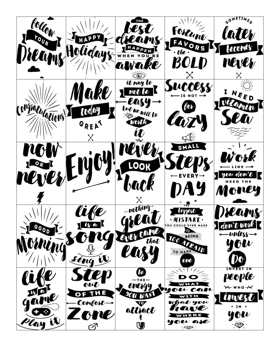 Free Printable-Inspirational Quote Stickers For Your Planner - Free Printable Quote Stencils