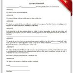 Free Printable Joint And Mutual Will | Sample Printable Legal Forms   Free Printable Will Papers