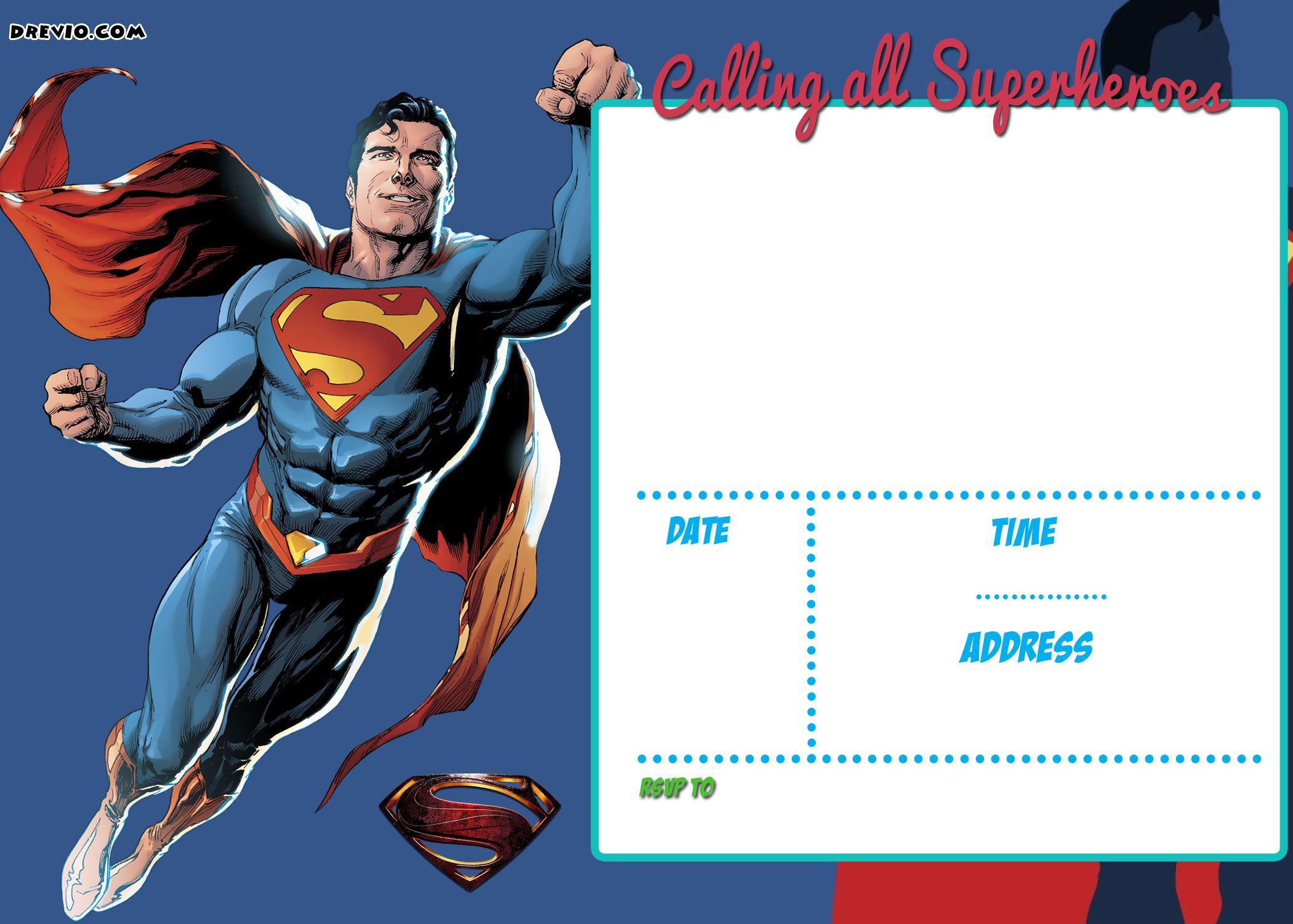 Free Printable Justice League Invitation Template   Free Printable - Free Printable Superman Invitations