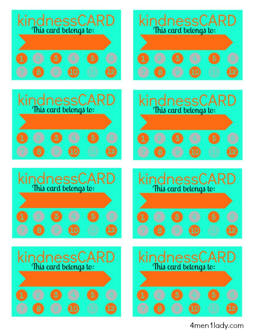 Free Printable Kindness Card For Good Behavior Board. @4Men1Lady - Free Printable Kindness Cards