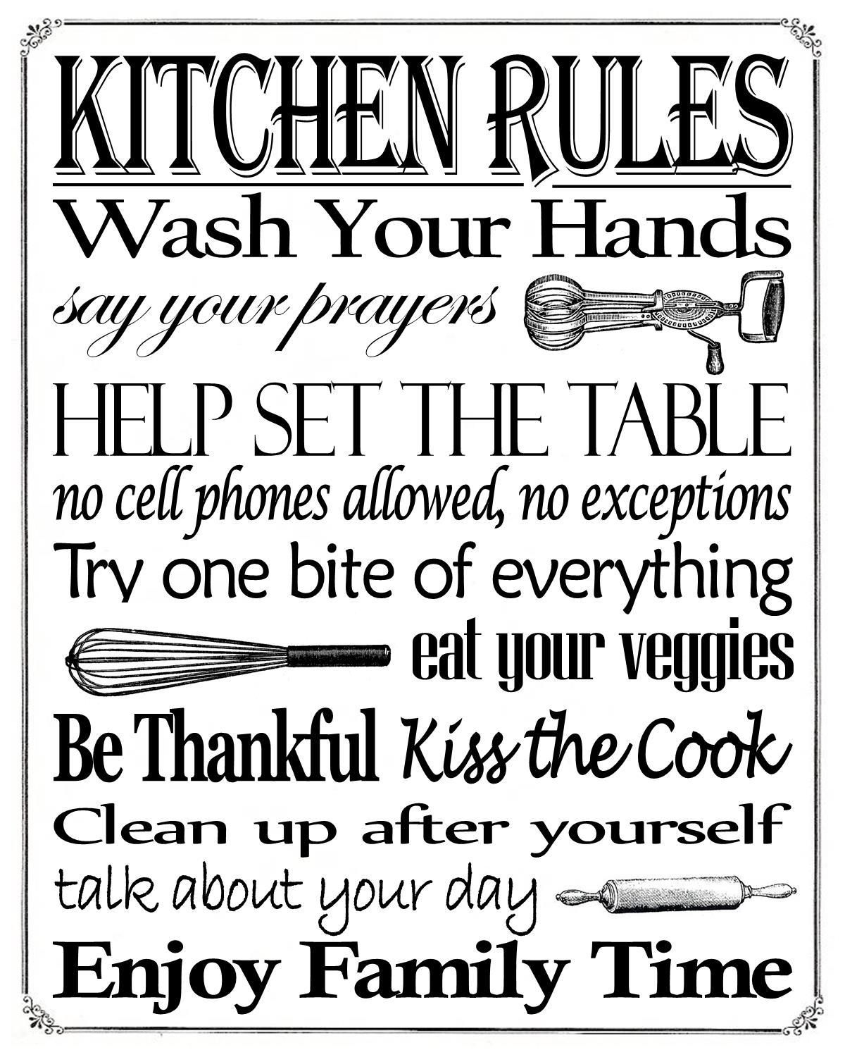 "Free Printable ""kitchen Rules"" 8"" X 10"" Sign 