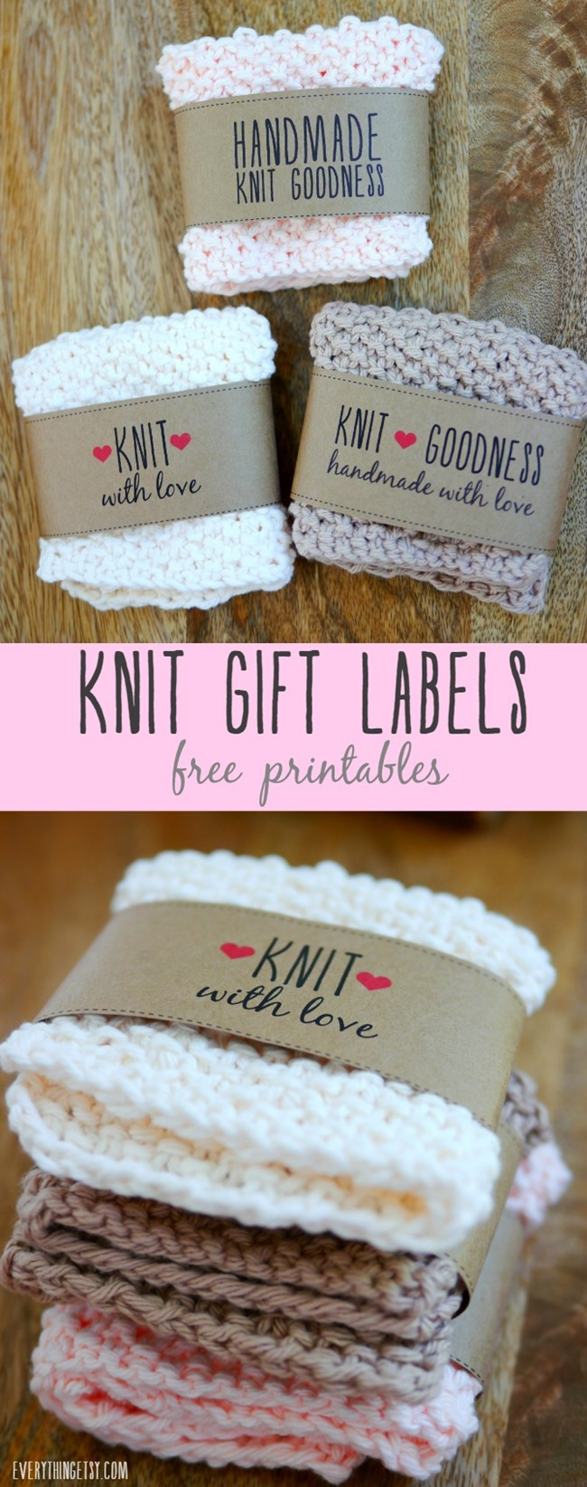 Free Printable Knit Gift Labels - Everythingetsy - Free Printable Dishcloth Wrappers