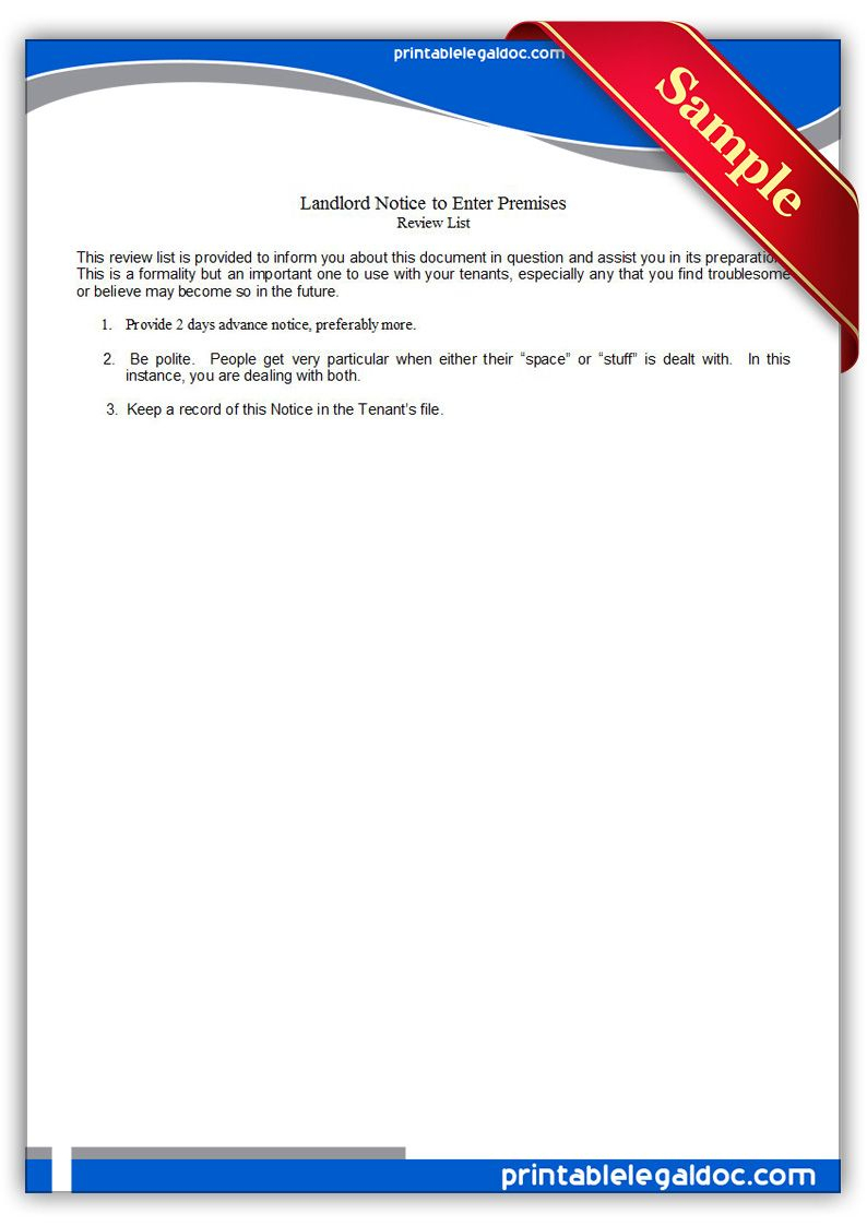 Free Printable Landlord, Notice To Enter Premises Legal Forms   Free - Find Free Printable Forms Online