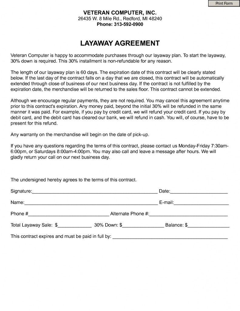 Free Printable Layaway Forms | Free Printable - Free Printable Layaway Forms