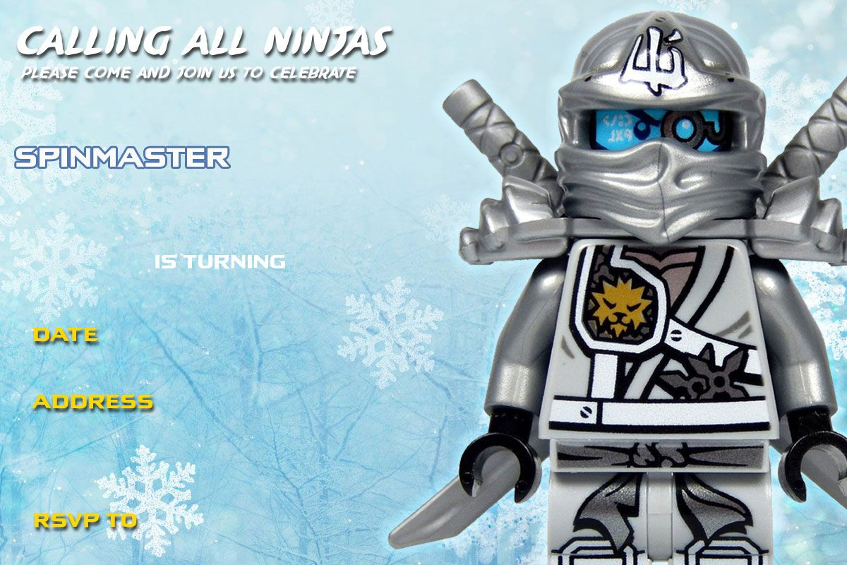 Free-Printable-Lego-Ninjago-Zane-Titanium-Birthday-Invitation | Lego - Lego Ninjago Party Invitations Printable Free