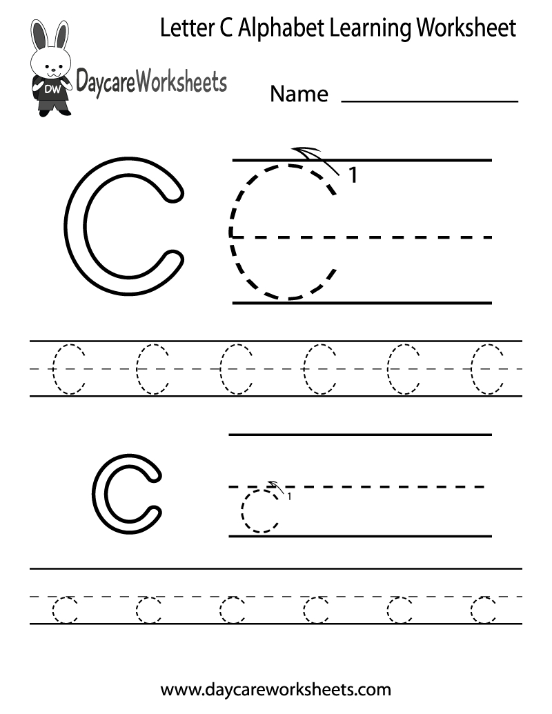 Free Printable Letter C Alphabet Learning Worksheet For Preschool - Free Printable Letter C Worksheets